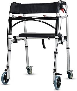 BD.Y Andador Plegable de 4 Ruedas Freno - Ajustable, portátil, liviano, Compacto Ayuda de Movilidad médica para Personas Mayores para discapacitados - con Asiento de Cuero sintético