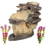 PINVNBY Rock Aquarium Decorations Resin Rockery Driftwood Fish Tank Mountain Ornament Betta Log Hideouts Stone Decor Artificial Plants Grass for Small Fish Shrimp Guppies Cichlids (3 Pack)