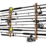 Rush Creek Creations Fishing Rod and Pole Rack - Storage Holder on Wall or Ceiling, American Cherry Laminate
