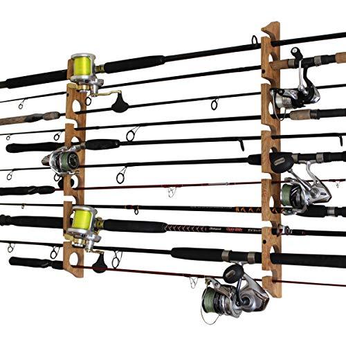 Rush Creek Creations 11 Fishing Rod Storage Wall, Ceiling, or Garage Mount Rack, American Cherry