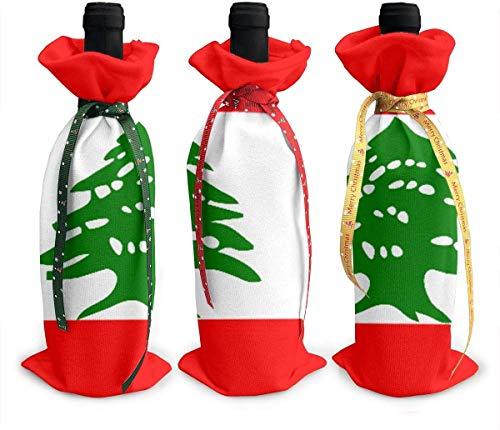 Perilla Fire Libanesische Flagge, 3 Stück Weinflaschenabdeckungen, bunte Champagnertüten, Weihnachtsgeschenktüten für den Urlaub, Tischdekoration
