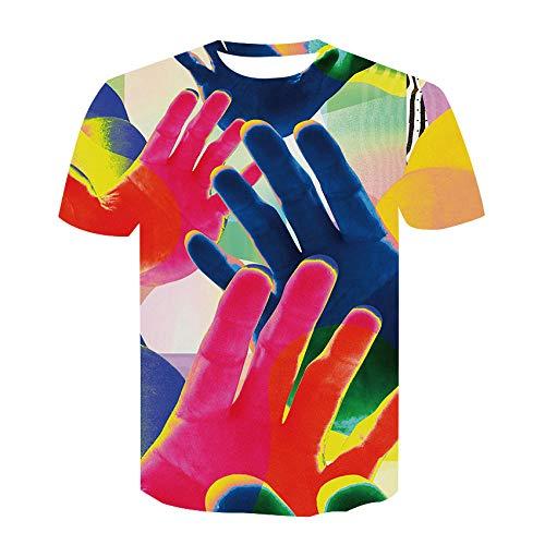 Camisetas De Pareja De Cuello Redondo Personalizadas Digitales En 3D,Mangas Cortas Pintadas En 3D Creativas De Palm,Camiseta De Secado Rápido Camiseta-5Xl