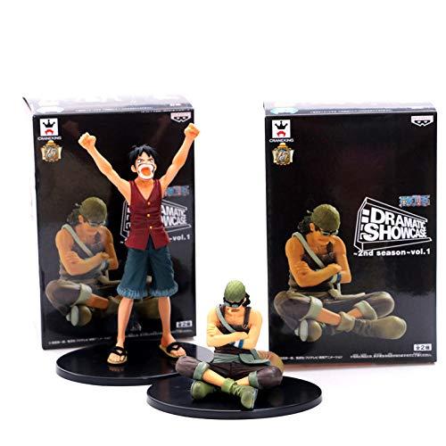 2pcs / Set One Piece Luffy Usopp Victory Failure Escena clásica Estilo PVC Figura de acción OP Modelo Luffy Zoro Sanji Brook 8-17cm
