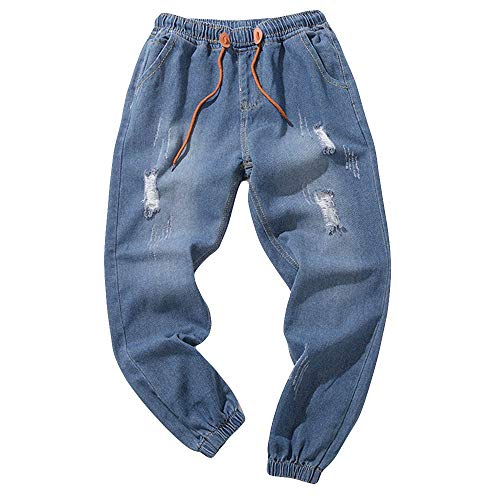 TEBAISE Herren Jeans Hose Denim Stretch Regular Fit Jeanshose Stonewashed Jogginghose Sweathose Jeansoptik Bund und Saum mit Gummizug(I-Blau,4XL)
