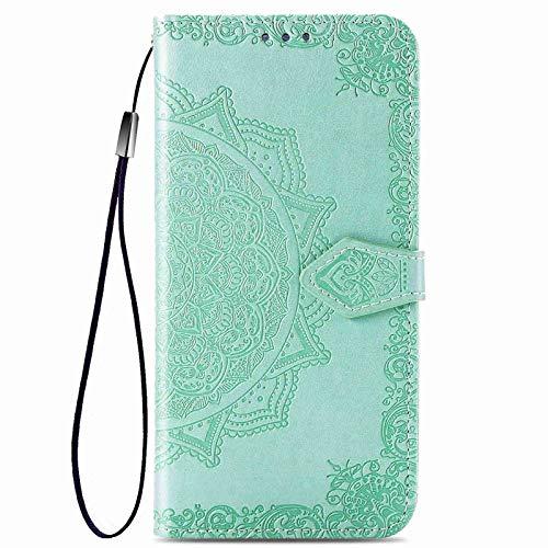 GOGME Funda para Xiaomi Redmi Note 9T 5G Funda, Suave PU/TPU Cuero Flip Carcasa Case Cover, Cubierta Magnética en Relieve de la Mandala, Billetera con Soporte/Tapa Tarjetas. Verde