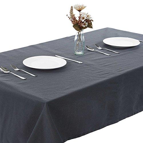 Alicemall 100% Coton Nappe de Table Rectangulaire Nappe Anti Tache Rectangulaire Couverture de Table pour Exterieur Couleur Gris(4)