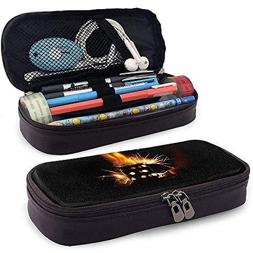 PU-Leder Federmäppchen mit Reißverschluss, Feuerzeug Schmiedeeisen Stifthalter, Kosmetik Make-up Tasche, Schreibwaren Veranstalter Bleistiftbeutel