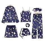 Pigiama Donna in Seta, Camicia da Notte 7Pcs Set Shirt, Canotta, Pantaloni Lunghi, Pantaloni Corti, Fascia di Capelli, Elegante Sexy Cool Visiera (M, Fiore Blu)