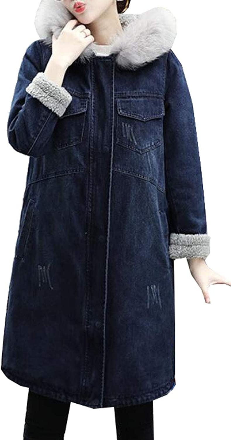 Jofemuho Women's Faux Fur Hoodies Loose Faux Fur Lined Denim Jacket Jean Trench Coat