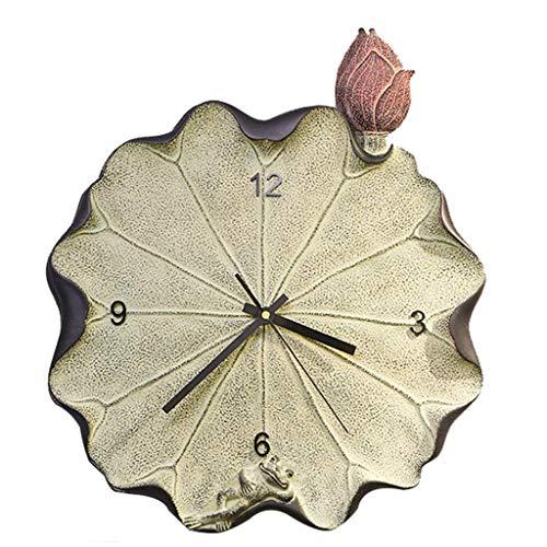 ZHAS Horloge murale décorative intérieure Horloge murale créative Horloge murale à Quartz muet - Horloge murale Lotus - Horloge murale Grenouille - Horloge murale américaine - Style Rustique - Sa