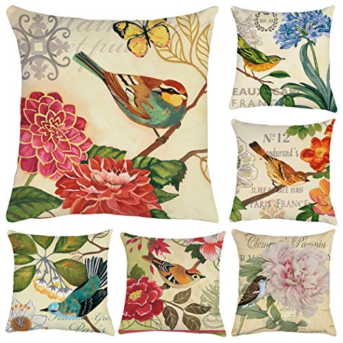Polyester Throw Pillow Case Cushion Cover Home Sofa Decorative(Cover Only,No Insert) (18x18 inch/ 45x45cm,6 Pack Bird and Flower)