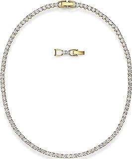 SWAROVSKI Women's Tennis Deluxe Necklace, White, Gold-tone plated