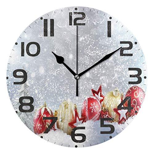 Jacque Dusk Reloj de Pared Moderno,Árbol de Navidad Copo de Nieve Golden Red Ball Star,Grandes Decorativos Silencioso Reloj de Cuarzo de Redondo No-Ticking para Sala de Estar,25cm diámetro