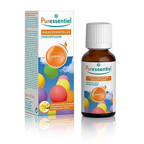Puressentiel - Huiles Essentielles pour Diffusion - Diffuse Happy - 100% pures et naturelles - Libère un parfum floral et sucré - 30 ml