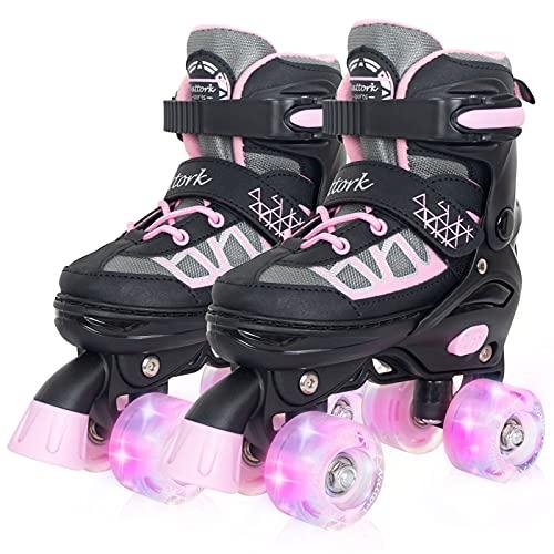 Nattork Adjustable Roller Skates for Kids with Light Up Wheel, Outdoor & Indoor Illuminating Roller Skates for Girls and Boys,Beginners