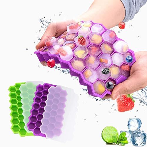 Eiswürfelform, Silikon-Eiswürfelschale mit Deckel, Einfach zum Herausnehmen Eiswuerfelbehaelter, Eiswürfelbehälter