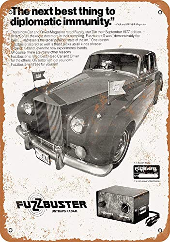 FQDIQI 12' x 16' Metal Sign - 1977 Fuzzbuster II Radar Detector - Vintage Look for Home Bar Also As A Gift