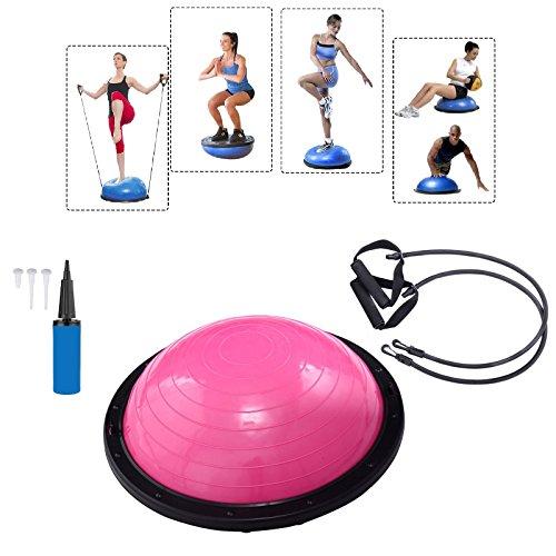 Baumarktplus Yoga Gymnastik Balance Half Ball Trainingsball Gymnastikball Pink Blau Lila (Pink)