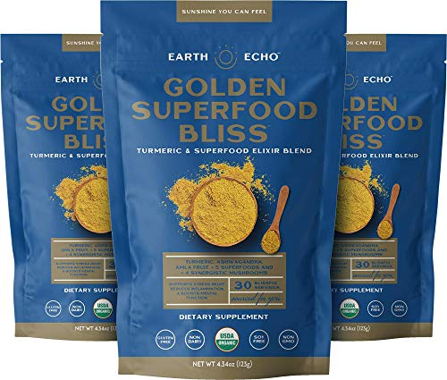 Earth Echo: Golden Superfood Bliss - Organic Turmeric, Ashwagandha and Ginger Powder Mix for Stress Relief, Immune Support and Restful Sleep - 90 Servings (3 Pack) 12 Nourishing Ingredients Per Scoop