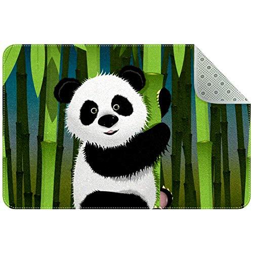 LORVIES Panda und Bambus-Teppich, rutschfest, Fußmatte für Wohnzimmer, Schlafzimmer, 61 x 40,6 cm, Polyester, multi, 90x60xm/35x24in