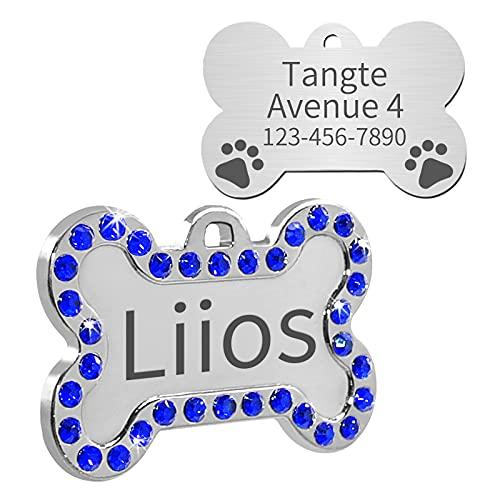Uiopa Chapa Perro Grabada, Chapas para Perros Huesos Placas para Perros Grabadas Etiquetas de Identificación de Mascotas Personalizadas Grabado Frontal/Posterior para Perros Gatos Collar (Azul)