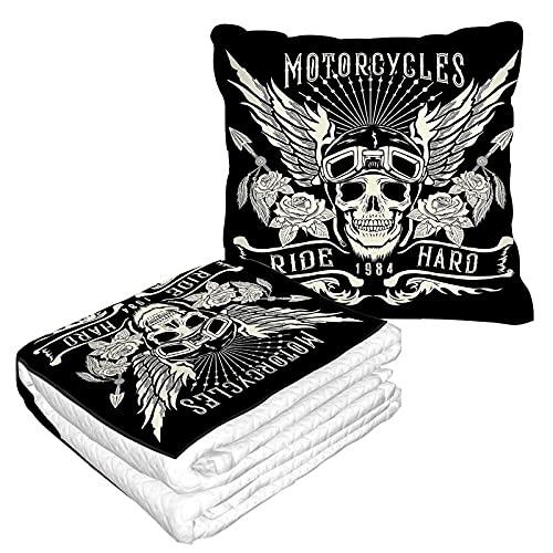 Manta de viaje para tatuaje, 2 en 1, diseño de calavera de motocicleta con casco y alas de avión manta para el hogar, sofá mullido de franela para oficina