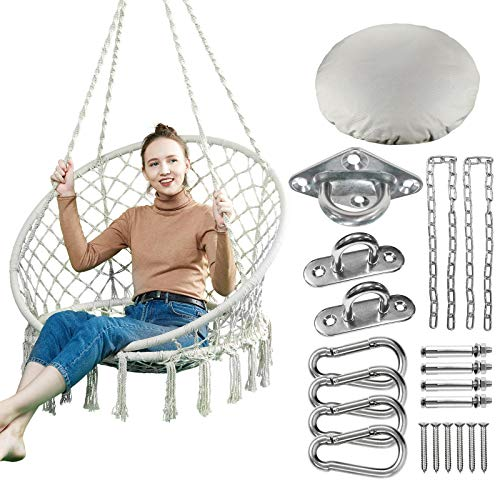 Greenstell Hammock Chair with Hanging Kits and Cushion, Cotton Rope Macrame Swing Chair, Comfortable Sturdy Hanging Chairs for Indoor,Outdoor,Bedroom,Patio,Yard, Garden, 330LBS Capacity (Beige)