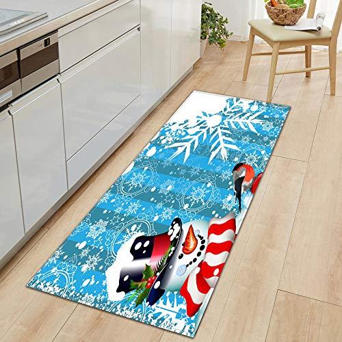 XIAOZHANG Kitchen Floor Rug White snowman landscape Coral Fleece modern Entrance Living Room Door Mat Bedroom Bathroom Kitchen Non slip washable utility 40x60CM