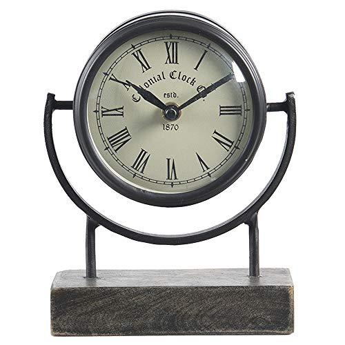Clayre & Eef Reloj de mesa 6KL0659 14 x 6 x 18 cm / 1 pila AA – marrón hierro / vidrio / madera reloj de pie pequeño reloj analógico