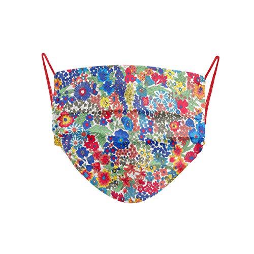 Cencibel Smart Casual Mascarilla Liberty London Tana Lawn diseño Margaret Flores Azulón y Rojo