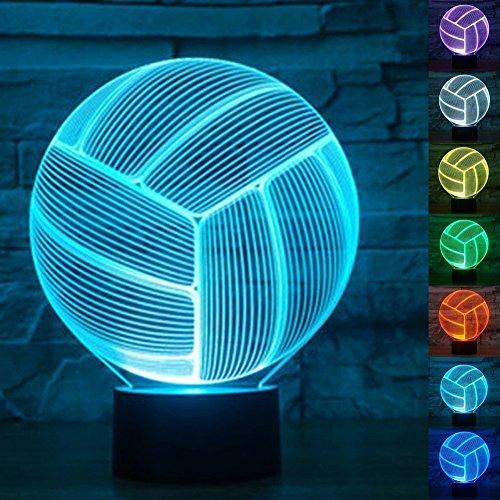 3D Luce Notturna,KINGCOO Lampada da Scrivania 3D 7 Colori Interruttore di Tocco LED Illuminazione Decorativa per Casa Soggiorno Bar Regalo per Compleanno e San Valentino (Pallavolo)
