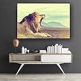 wZUN Leone Animale Selvatico Paesaggio Dipinto su Tela Poster scandinavo e Stampa murale, Decorazione Soggiorno Pittura 50x70cm