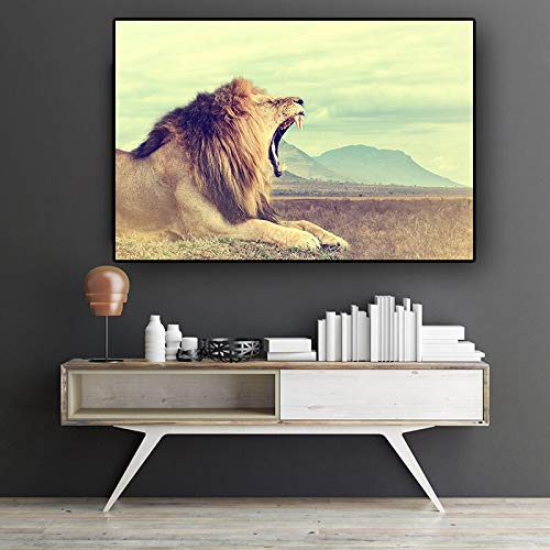 wZUN Lion Wild Animal Landscape Canvas Painting Scandinavian Poster and Print Mural, Living Room Decoration Painting 50x70cm