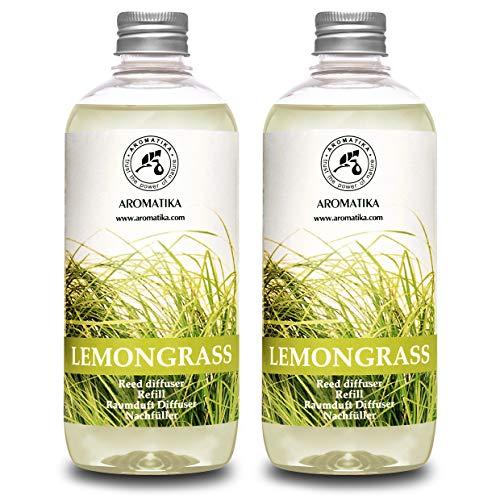 Difusor de Lemongrass 1000ml (2x500ml) - Recambios de Difusor - Aceite Puro & Natural - Intensivo - Fragancia Fresca y de Larga Duración - 0% Alcohol - Mejor para Aromaterapia - SPA - Oficina