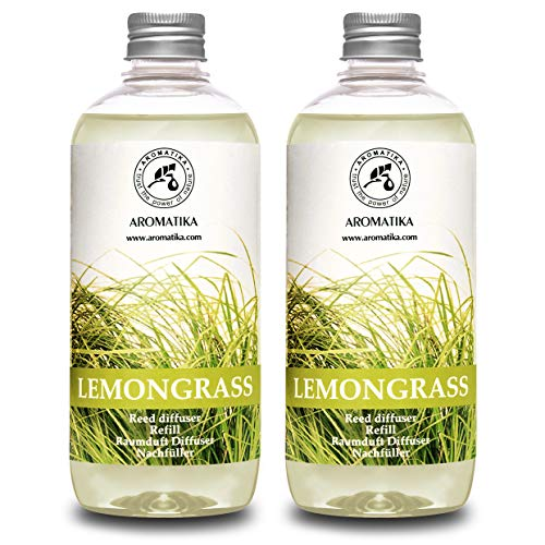 Lemongrass Diffuser Refill 34 oz (2x17oz) - Fresh & Long Lasting Fragrance - Refill with Natural Essential Lemongrass Oil - Best for Aromatherapy - Spa - Home - Reed Diffuser Oil Refill Lemongrass