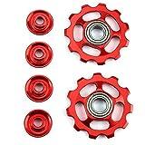 TOOGOO 1 Juego 11T Poleas Cambio Trasero de Rueda de rodamiento Exterior de aleacion de Aluminio Ultraligero de Bicicleta Piezas de la Bicicleta-Rojo