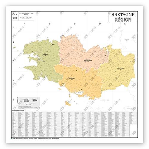 Mapa de Francia Murale – Mapa administrativo – Región Bretaña – Modelo Vintage – Póster plastificado gran formato 120 x 120 cm