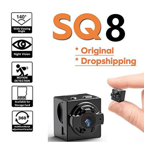 Crazy rice SQ8 Mini-Kamera, Full HD 1080P tragbare Kompaktkamera, Sportkamera, mit Nachtsicht und Bewegungserkennung für Büro, Auto, Zuhause 1080P