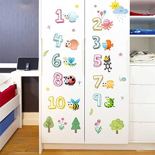 Leuke dieren met Arabische cijfers Muurstickers voor Kleuterschool Klas Kinderkamer Kinderkamer Thuis Decoratie Kwekerij Fotobehang Muursticker
