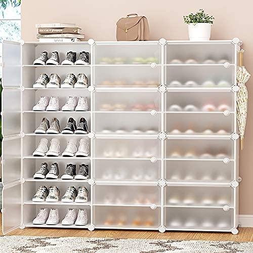 HHTX Zapatero apilable, gabinetes de Almacenamiento de Zapatos Independientes con estantes Ajustables y Puerta Transparente, gabinete Modular para Dormitorio, Color Blanco.8 Niveles 126x31x127cm
