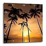 3dRose dpp_89745_3 ハワイ、カパルアビーチ、夕暮れとヤシの木-Us12 Dpb1667-ダグラスピーブル-ウォールクロック、15x15インチ