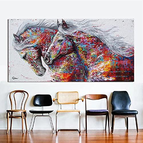 Kits de pintura de diamantes 5D para bricolaje,DIY Diamond Painting Kit para Adultos,pintura diamante Taladro Completo,bordado diamante arte pintura,Manualidades Regalo(caballo_Square_Drill_80x220cm)