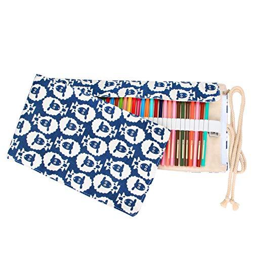Damero Wrap Leinwand Stifterolle für 72 Buntstifte und Bleistifte Stifteetui Roll-up Mäppchen für Künstler, Verpackung Mehrzwecktasche für Reisen/Schule (Sheep, 72 Holes)