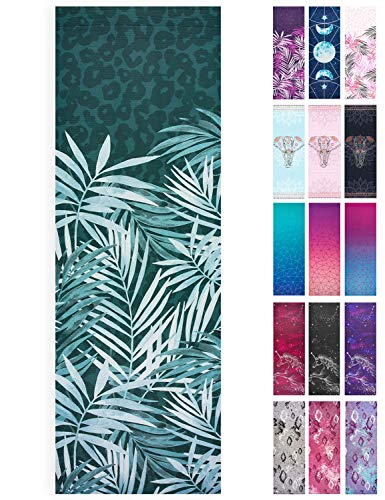 Lions Printed Yoga Mats, Pvc 6mm Thick Dual Layer Mat with Carry Straps, Ideal for Exercise, Fitness, Home, Gym, Workout, Pilates, Camping, 183 x61cm (Leaf-Green)
