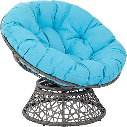 YUNLVC Round Cotton Wicker Swing Chair Seat Cushion Outdoor Hanging Egg Hammock Chair Pads Waterproof Garden Quilting Overstuffed Papasan Chair Cushion-110cm(43inch) Blue