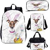 Mochila de Pascua de 15 pulgadas con bolsa de almuerzo, juego de estuche, perro como conejo de Pascua 4 en 1 conjuntos de mochila