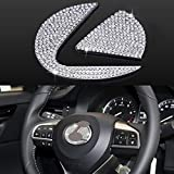 AEEIX Bling Steering Wheel Logo Caps Compatible with Lexus, DIY Diamond Crystal Emblem Accessories Interior Decorations for Women, Fit for Lexus ES NX RX IS CT LX GS RC GS-F RC-F(Large)