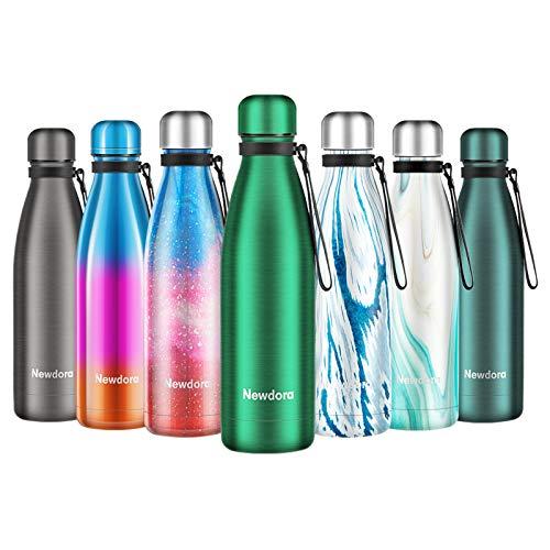 Newdora Botella de Agua Acero Inoxidable 500ml, Aislamiento de Vacío de Doble Pared, Botellas de Frío Caliente, con 1 un Cepillo de Limpieza, para Niños, Deporte, Oficina, Gimnasio, Ciclismo