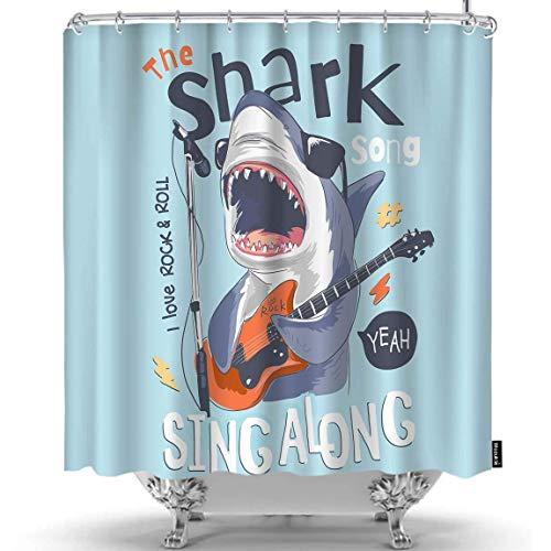 N\A Cartoon Shark Duschvorhang Gitarre Spielen & mitsingen Funny Fashion Blue Bad Vorhang für Badezimmer Dekor Polyester wasserdicht Stoff mit