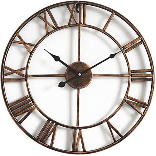 DXMGZ Reloj de Pared Retro con Números Romanos, Grandes Relojes de Pared Vintage de Cuarzo Silenciosos Que No Hacen Tictac de 16 Pulgadas, para Decoración del Dormitorio del Hogar